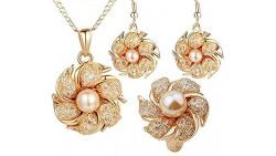 Joyas 18k Gold Plated Bridal Jewelry Set with Pearl and Crystal, Set De Joyeria, Joyeria De Moda (8)
