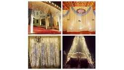 ZSTBT Linkable 304LED 9.84ft9.84ft/3m3m Window Curtain Lights Icicle Fairy Lights for Party Wedding Home Patio Lawn Garden (Warm