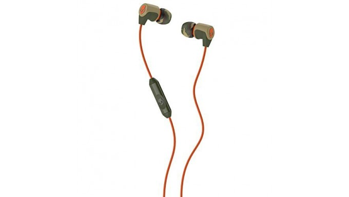 Skullcandy Riff Noise Isolating Earbuds with Mic - Retail Packaging - Orange/Green Camo