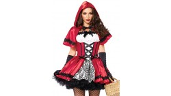 Leg Avenue Women s 2 Piece Gothic Red Riding Hood Costume, Red/White, Medium