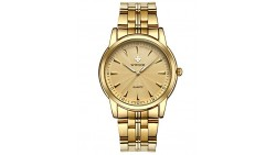 WWOOR Men s Business Quartz Watches Stainless Steel Band Waterproof Wristwatch Gold