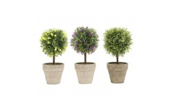 Mini Tabletop Faux Potted Artificial Topiary Plants in Ceramic Pots, Set of 3