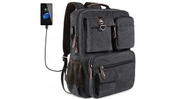 School Backpack Vintage Canvas Laptop Backpacks Men Women Bookbags with USB Charging Port(Black)