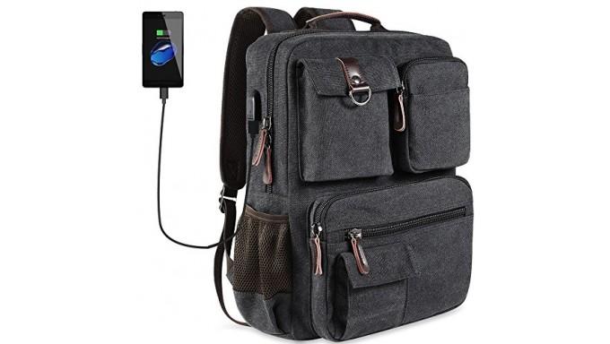 School Backpack Vintage Canvas Laptop Backpacks Men Women Bookbags with USB Charging Port(Black)