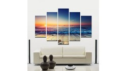 Adarl 5 Panels Modern Wall Art Waves Painting on Canvas Arts Crafts & Sewing For Home and office Decorations No Frame (Sunrise)