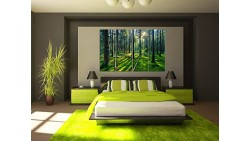 4 panel unframed forest and sunrise sunlight oil painting green Tree woods canvas print Modern Wall Art Home Decoration No Frame