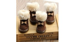 Cute Pet Paw Snow Boots for Dogs Nonslip Winter Pet Boots 4 Pcs (Brown, 1)