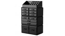 Readaeer Makeup Cosmetic Organizer Storage Drawers Display Boxes Case with 12 Drawers(Black)