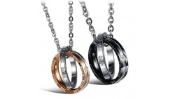 M-Tree His and Hers Couples Necklaces - Titanium Stainless Steel Fashion Matching Relationship Necklace Color Couples