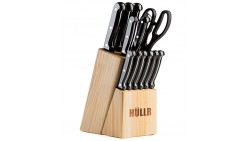 HULLR 14 Piece Kitchen Knife Set with Wooden Block, Stainless Steel Chef Knife Bread Knife Slicing Knife Utility Knife Paring Kn