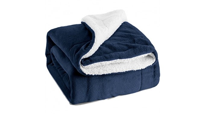 Sherpa Throw Luxury Blanket Navy Blue 50x60 Reversible Fuzzy Microfiber All Season Blanket for Bed or Couch by Bedsure