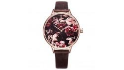 VICTORIA HYDE Ladies Quartz Watch Flower Rose Gold Case Genuine Leather Waterproof For Women