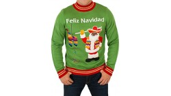 Men s Feliz Navidad Ugly Christmas Sweater in Green By Festified (2X-Large)