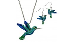 PammyJ Blue and Green Sparkling Hummingbird Pendant Necklace and Earring Set
