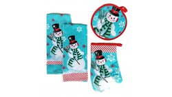 Christmas Snowman Kitchen Towels Set of 4 Bundle Includes 2 Dish Towels, an Oven Mitt and Pot Holder