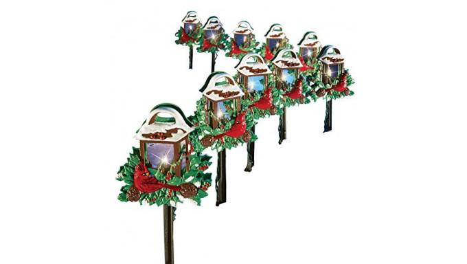 Christmas Cardinal Lantern Path Lights - Set of 10