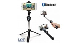 Bluetooth Selfie Stick Fully Adjustable and Extendable with Tripod and Remote Control For All Smartphones and Cameras.