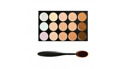 Boolavard Professional 15 Colour Concealer Camouflage Contour Eye Face Cream Makeup Palette with Cosmetics Oval Make up Brush (1