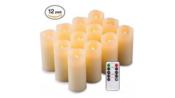 Enpornk Flameless Candles Battery Operated LED Pillar Real Wax Flickering Electric Unscented Candles with Remote Control Cycling