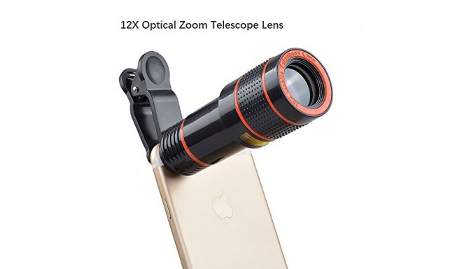 Cell Phone Camera Lens, 12X Zoom Telephoto Universal Clip On Lens Kit for iPhone 7/6S/6 Plus/5/4,Samsung, Android and Other Phon
