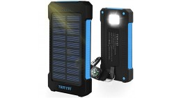 Solar Charger 15000mAh,Teryei Portable Solar Power Bank High Efficiency Solar Phone Charger with Solar Panel, Dual USB Cell Phon