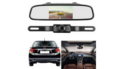 Emmako Backup Camera and Mirror Monitor Kit 4.3 Display Licence Plate Camera System Only Wire Single Power Rear View/Full Time V