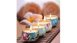 Velas aromáticas de jazmín, loto, lilas y gardenias blancas, set de 4