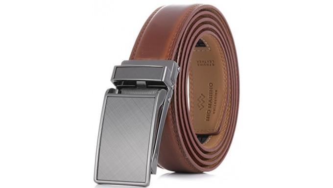 Cinturón de vestir de trinquete de cuero genuino para hombre