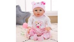 """Vida real muñeca bebé niña silicona traje de color rosa 15/22 pulgadas, 22"""", Rosado"""
