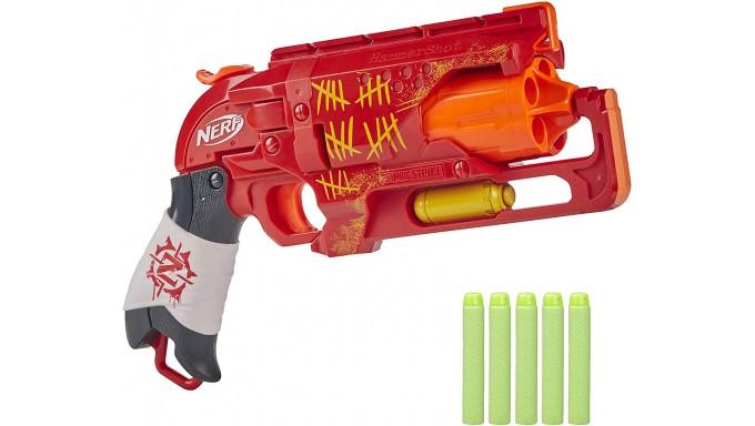 NERF Zombie Strike Hammershot Blaster - Pulsador de tiro trasero