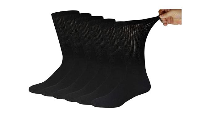 6 pares de calcetines de algodón para diabéticos (10-13, negro)