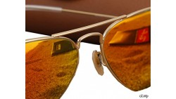 RAY BAN AVIATOR LUXOTTICA ORANGE MIRROR GOLD FRAME RB3025//112-69 MADE IN ITALY