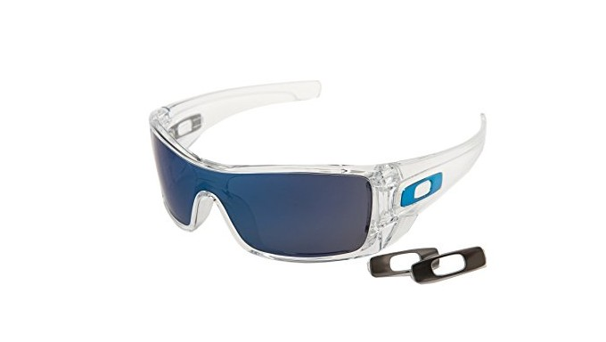 Oakley OO9101-07 Batwolf Sunglasses Transparent w/Blue Mirror OO9101 07 60mm Authentic + Cleaning Care-Kit