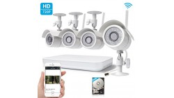 Zmodo 720p High Definition Wireless WiFi Smart Outdoor Indoor Home Video Security Camera System 4 Channel NVR 500GB Hard Drive