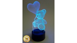 Gadgetized 3D Illusion Night Light for Kids Room, 7 Color Changing Teddy Bear, Soothing Childs Room Lamp