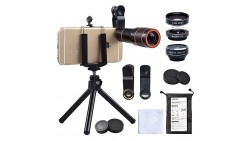 Cell Phone Camera Zoom Lens Kit, 4 in 1 HD 12X Optical Telescope Zoom Lens+ Fisheye+ Wide Angle+ Macro Lens with Universal Clip+